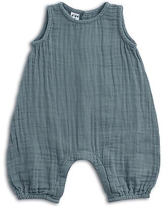 Numero 74 Pagliaccetto Stef, Blu Ghiaccio - Mussola di cotone (3-6 mesi) Salopette