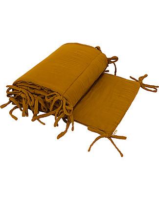 Numero 74 Paracolpi Lettino - Oro - 100% Mussola di Cotone con imbottitura in Poliestere Paracolpi