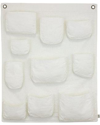 Numero 74 Porta Oggetti da Muro - Bianco - Tela di Cotone Contenitori Porta Giochi