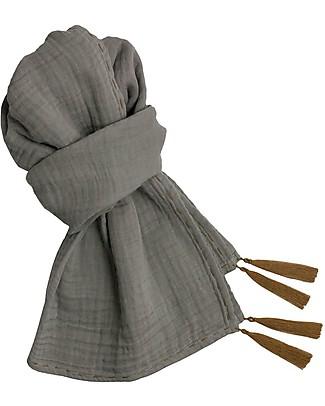 Numero 74 Sciarpa Donna, Argento - Doppia Mussola di Cotone Sciarpe e Mantelle