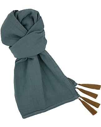 Numero 74 Sciarpa Donna, Blu Ghiaccio – Doppia Mussola di Cotone Sciarpe e Mantelle