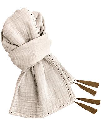 Numero 74 Sciarpa Donna, Naturale – Doppia Mussola di Cotone Sciarpe e Mantelle