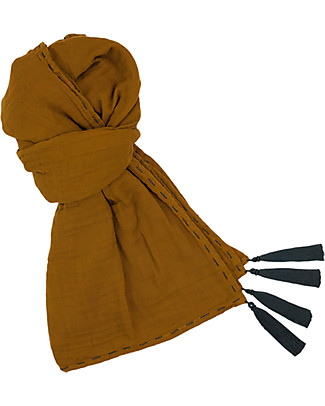 Numero 74 Sciarpa Donna, Oro - Doppia Mussola di Cotone Sciarpe e Mantelle