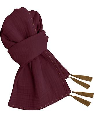 Numero 74 Sciarpa Donna, Red Macaron – Doppia Mussola di Cotone Sciarpe e Mantelle