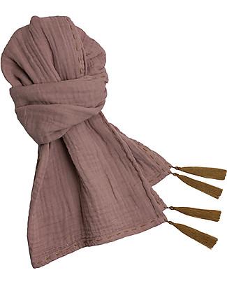 Numero 74 Sciarpa Donna, Rosa Antico – Doppia Mussola di Cotone Sciarpe e Mantelle