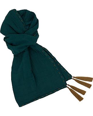 Numero 74 Sciarpa Donna, Verde Petrolio - Doppia Mussola di Cotone Sciarpe e Mantelle