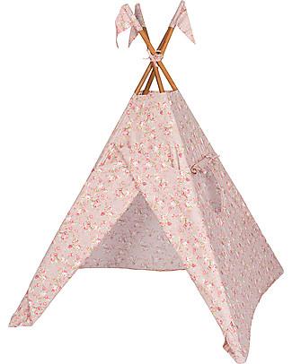 Numero 74 Tenda Tipi, Rosa Antico con Fiori – Cotone Popeline Tende Gioco