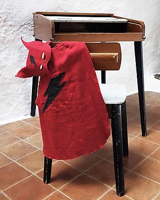 Numero 74 Travestimento Super Eroe Maschera + Mantello - Rosso - Cotone Travestimenti