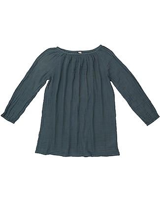 Numero 74 Tunica Donna Nina, Blu Ghiaccio - 100% Mussola di Cotone Vestiti