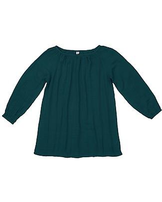 Numero 74 Tunica Donna Nina - Verde Petrolio - 100% Mussola di Cotone Vestiti