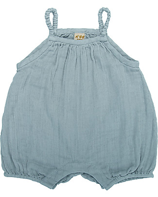 Numero 74 Tutina Senza Maniche con Pantaloncini Corti Lolita, Celeste (3-6 mesi) - 100% cotone bio Tutine Corte