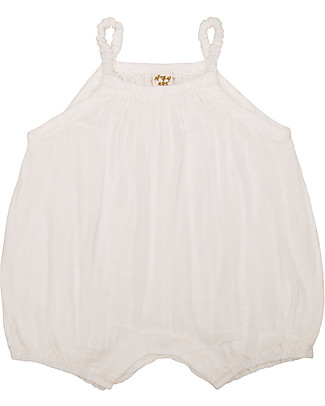 Numero 74 Tutina Senza Maniche con Pantaloncini Corti Lolita, Natural (9-12 mesi) - 100% cotone bio Tutine Corte