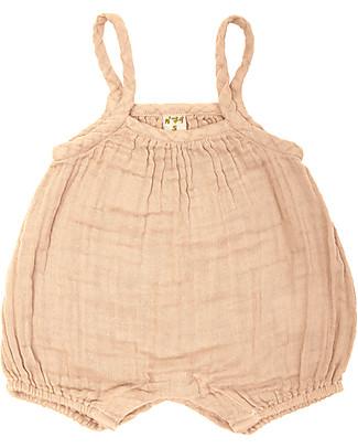 Numero 74 Tutina Senza Maniche con Pantaloncini Corti Lolita, Pesca (9-12 mesi) - 100% cotone bio Tutine Corte