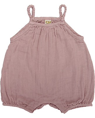Numero 74 Tutina Senza Maniche con Pantaloncini Corti Lolita, Rosa Antico (1-2 anni) - 100% cotone bio Tutine Corte