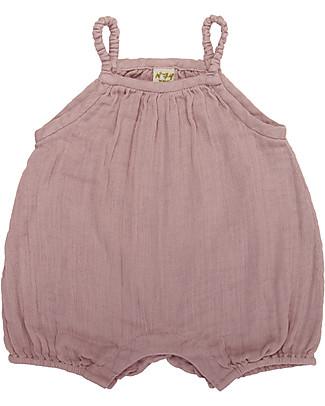 Numero 74 Tutina Senza Maniche con Pantaloncini Corti Lolita, Rosa Antico (9-12 mesi) - 100% cotone bio Tutine Corte