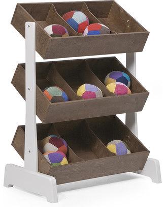 Oeuf Portagiochi Toy Store - Noce e Bianco Mensole