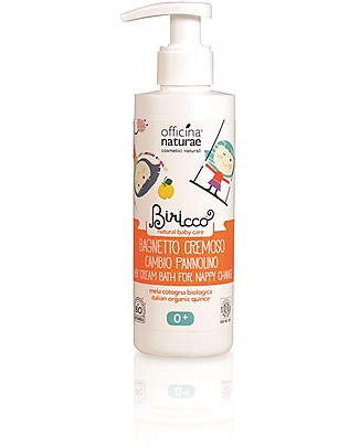 Officina Naturae Bagnetto Cremoso alla Mela Cotogna Bio, 200 ml - Adatto per il cambio pannolino Shampoo e Prodotti per il Bagnetto
