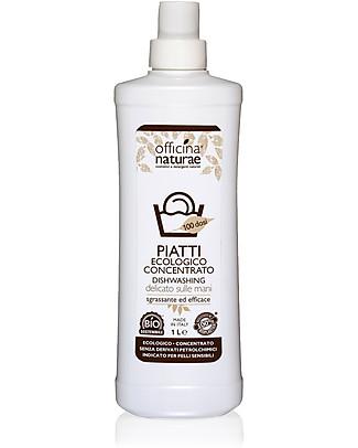 Officina Naturae Bio Detersivo Liquido Piatti Concentrato, 1 lt - Efficace e delicato sulle mani Detergenza