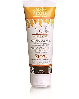 Officina Naturae Crema Fluida Solare Bambini e Adulti SPF 50, Protezione Alta - 100 ml Solari