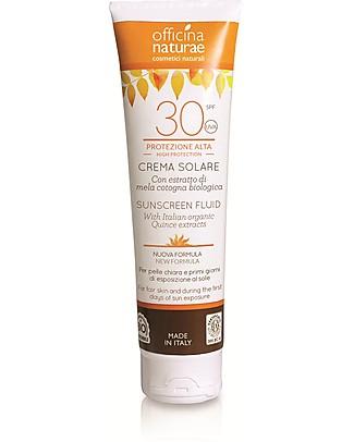Officina Naturae Crema Fluida Solare SPF 30, Protezione Alta - 125 ml Solari