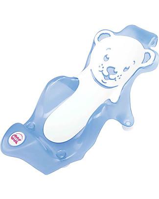 OKbaby Sdraietta da Bagno Baby Buddy, Blu e Bianco -  con Gomma Antiscivolo! Vaschette