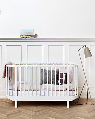 Oliver Furniture Lettino con Sbarre linea Wood, Bianco, 140x70 cm - Struttura modulare e trasformabile Lettini Con Sbarre