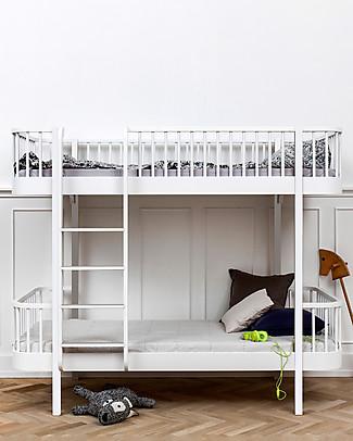 Oliver Furniture Letto a Castello in Legno linea Wood, Bianco/Scala Frontale, 90x200 cm - Struttura modulare e trasformabile Letti a Castello