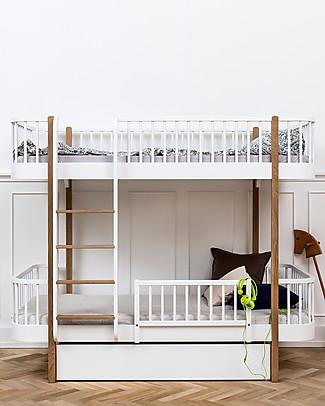 Oliver Furniture Letto a Castello in Legno linea Wood, Quercia/Scala Frontale, 90x200 cm - Struttura modulare e trasformabile Letti a Castello