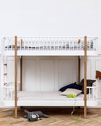 Oliver Furniture Letto a Castello in Legno linea Wood, Quercia/Scala Lato Corto, 90x200 cm - Struttura modulare e trasformabile Letti a Castello