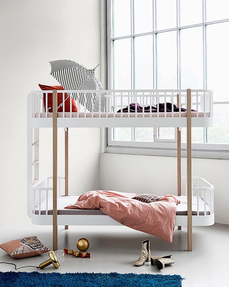 Letto A Castello Design.Oliver Furniture Letto A Castello In Legno Linea Wood Quercia Scala