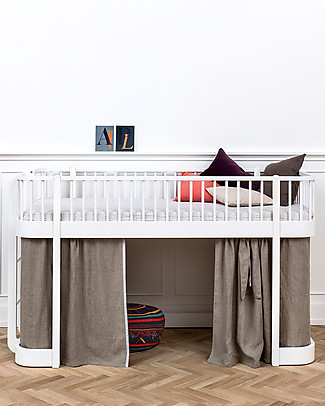 Oliver Furniture Letto a Soppalco Basso, linea Wood, Bianco, 90x200 cm - Struttura modulare e trasformabile Letti a Castello