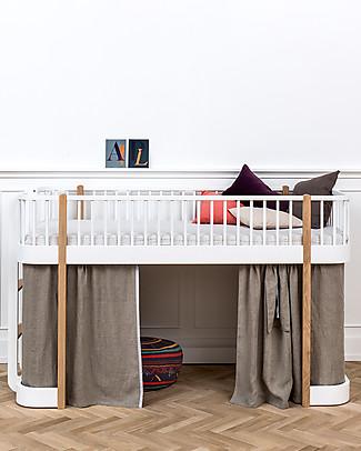 Oliver Furniture Letto a Soppalco Basso, linea Wood, Quercia, 90x200 cm - Struttura modulare e trasformabile Letti a Castello