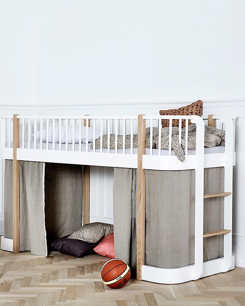 Oliver furniture letto a soppalco basso linea wood quercia 90x200 cm struttura modulare e - Ikea letti a soppalco ...