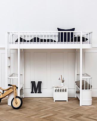 Oliver Furniture Letto a Soppalco linea Wood, Bianco, 90x200 cm - Struttura modulare e trasformabile Letti a Castello