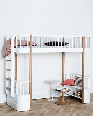 Oliver Furniture Letto a Soppalco linea Wood, Quercia, 90x200 cm - Struttura modulare e trasformabile Letti a Castello
