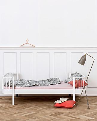 Oliver Furniture Letto Singolo in Legno linea Wood, Bianco, 90x200 cm - Struttura modulare e trasformabile Letti Singoli