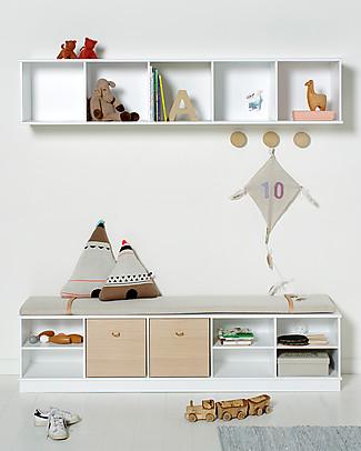 Oliver Furniture Scaffale Orizzontale con Supporto 5x1, Linea Wood – Da appendere al muro! Mensole