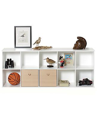 Oliver Furniture Scaffale Orizzontale con Supporto 5x2, Linea Wood – Da appendere al muro! Mensole