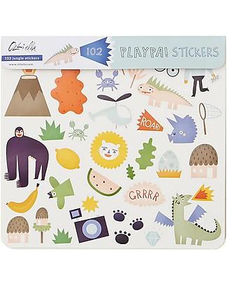 Olli Ella 120 Adesivi Playpa, Jungle - Colorati e Divertenti! Adesivi e Timbri
