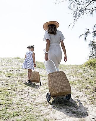 Olli Ella Big Luggy, Cesto Portagiochi Grande con Ruote, Naturale - Fair trade, fatto a mano! Contenitori Porta Giochi