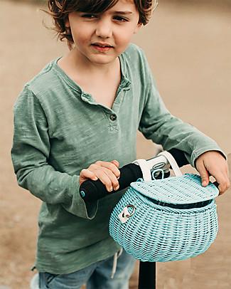 Olli Ella Cestino in Rattan Mini Chari 20 x 16 x 13 cm, Azzurro - Da borsa a cestino per bici! Borse Shopper