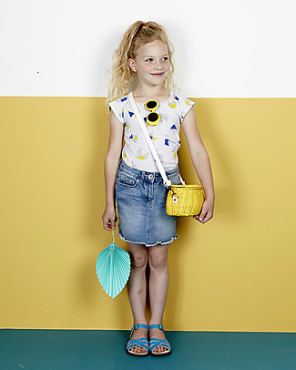 Olli Ella Cestino in Rattan Mini Chari 20 x 16 x 13 cm, Giallo - Da borsa a cestino per bici! Borse Shopper