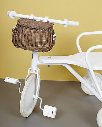 Olli Ella Cestino in Rattan Mini Chari 20 x 16 x 13 cm, Naturale - Da borsa a cestino per bici! null