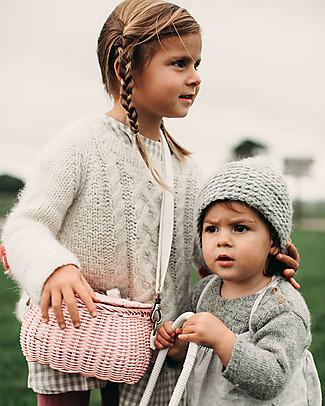Olli Ella Cestino in Rattan Mini Chari 20 x 16 x 13 cm, Rosa - Da borsa a cestino per bici! Borse Shopper