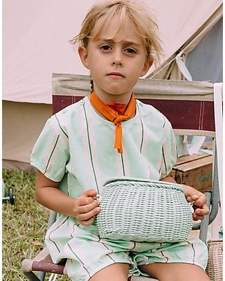 Olli Ella Cestino in Rattan Mini Chari 20 x 16 x 13 cm, Verde Menta - Da borsa a cestino per bici! Borse Pic Nic