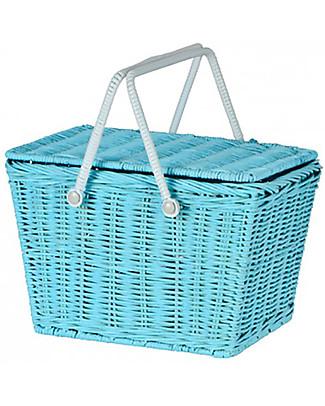 Olli Ella Cestino Piki, Azzurro 31 x 15 x 15 cm – Fair trade, fatto a mano! Contenitori Porta Giochi
