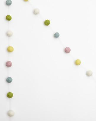 Olli Ella Ghirlanda Decorativa Palline in Feltro, Multicolore – Fatta a mano! Festoni