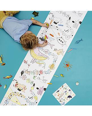 Olli Ella Poster da Colorare, Oceano - Rotolo Lungo 8 metri! Colorare