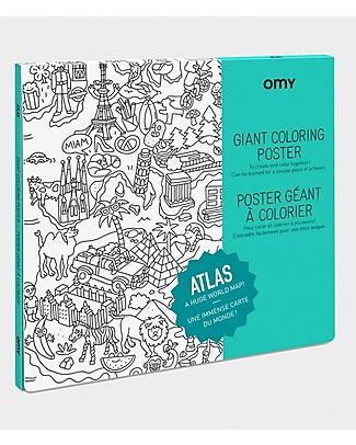 Omy Atlas - Poster Gigante da Colorare (100 x 70 cm) - Stampa ecologica su carta riciclata! Colorare