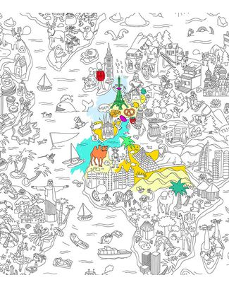 Omy Atlas - Poster Gigante da Colorare (180 x 98 cm) - Stampa ecologica su carta riciclata! Colorare